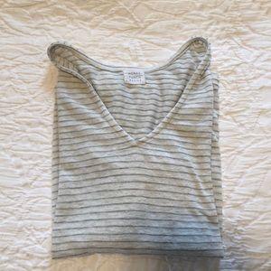 Grey striped v neck sweater